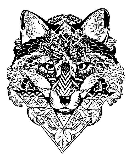 Раскраска арт терапия животные - волк | Раскраски Антистресс