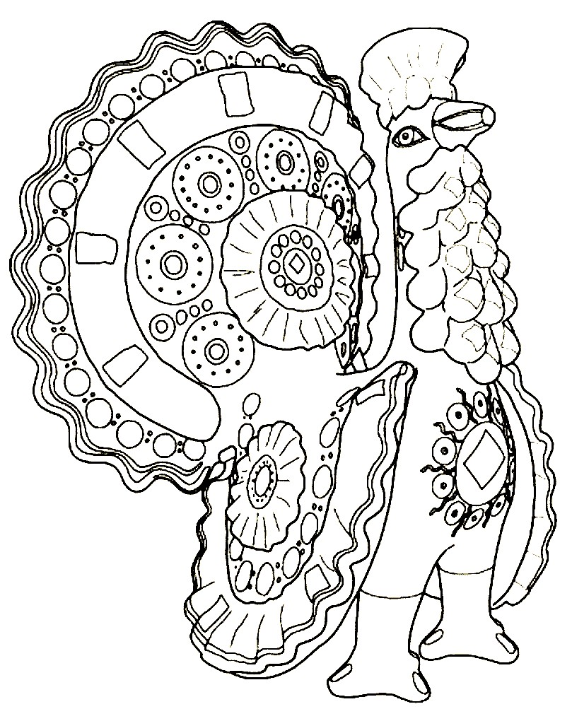 Дымковский индюк раскраски