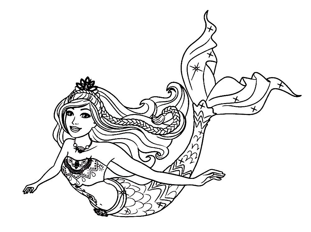 Раскраска русалка Барби   Раскраски русалки