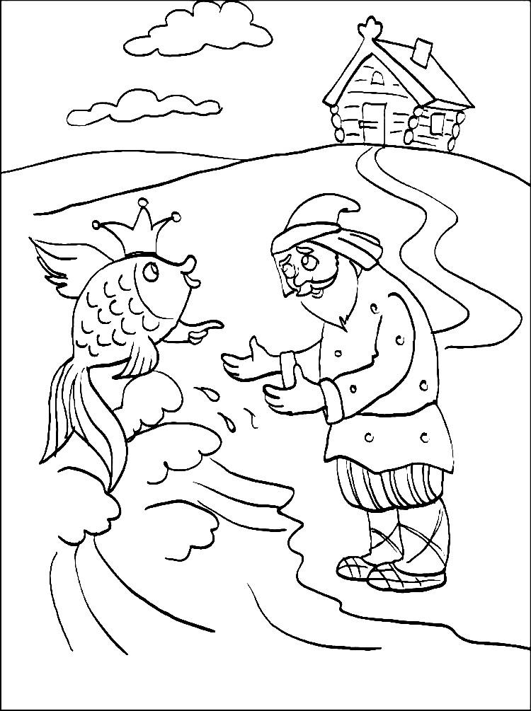 Раскраска дед и Золотая рыбка | Раскраски Сказка о рыбаке ...