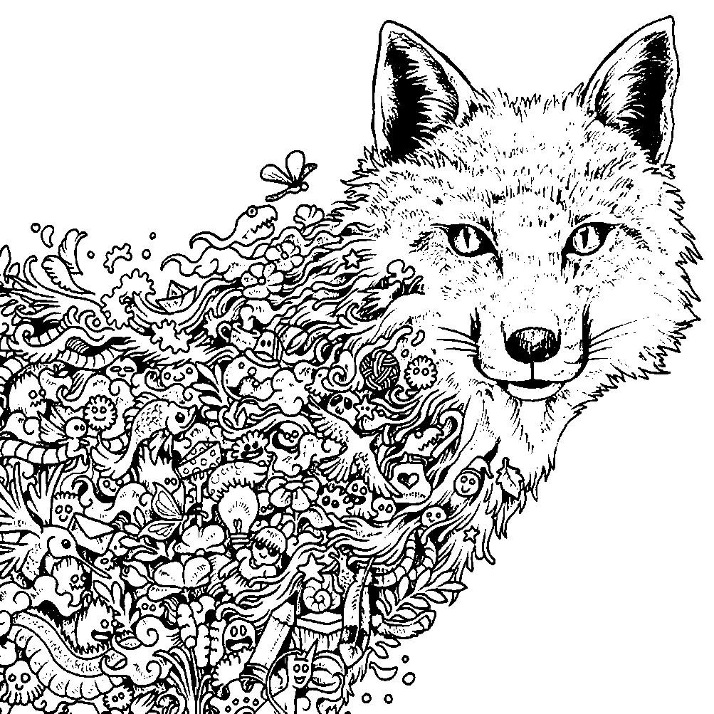 Антистресс раскраска волк