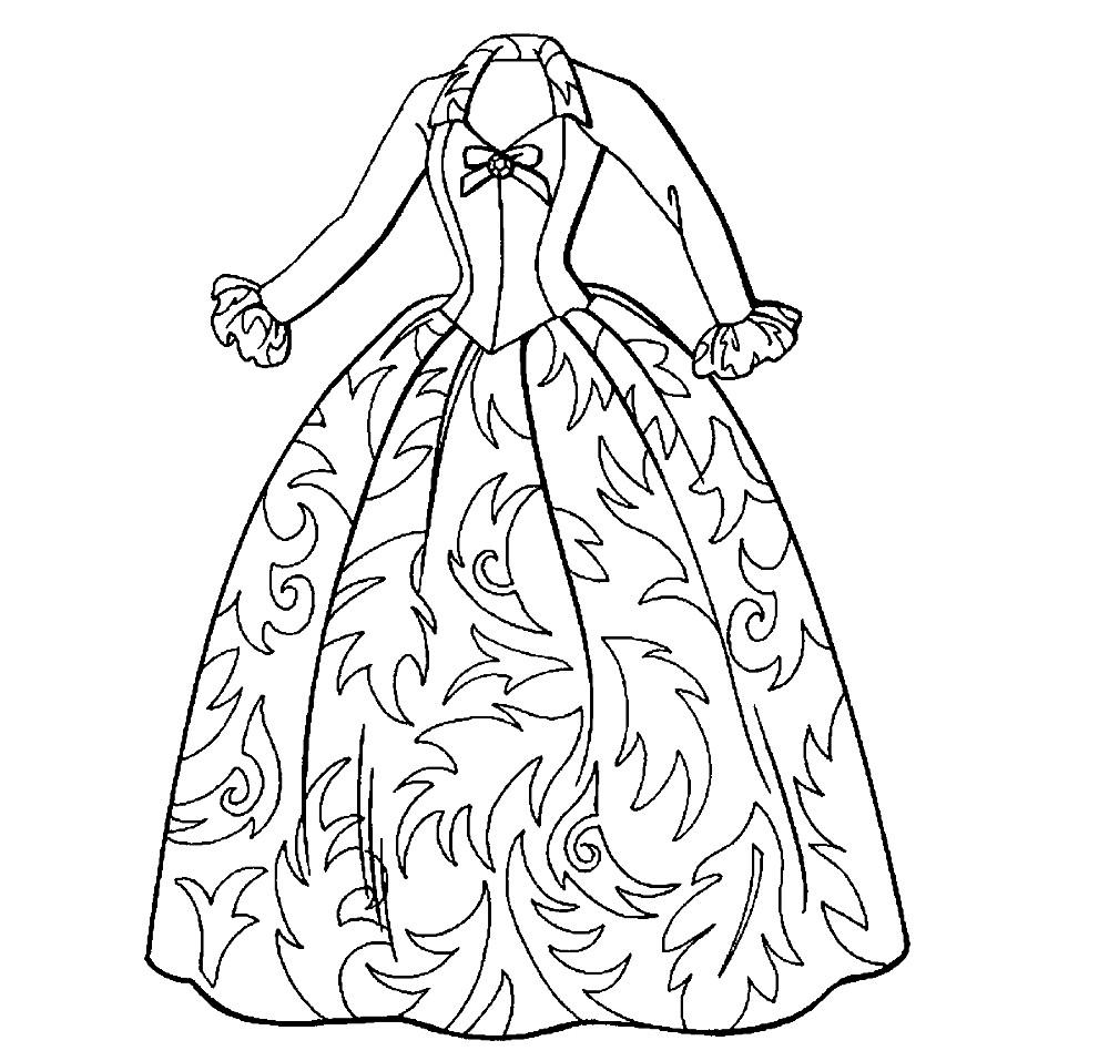 Раскраска красивое бальное платье | Раскраски Красивые платья