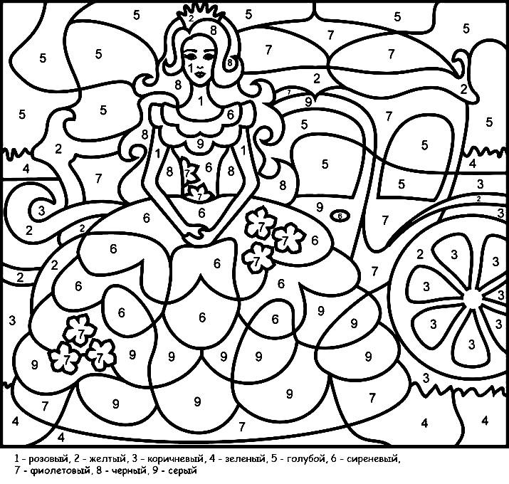 Раскраска по цветам принцесса