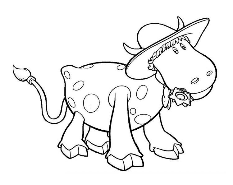 Раскраска корова ковбой