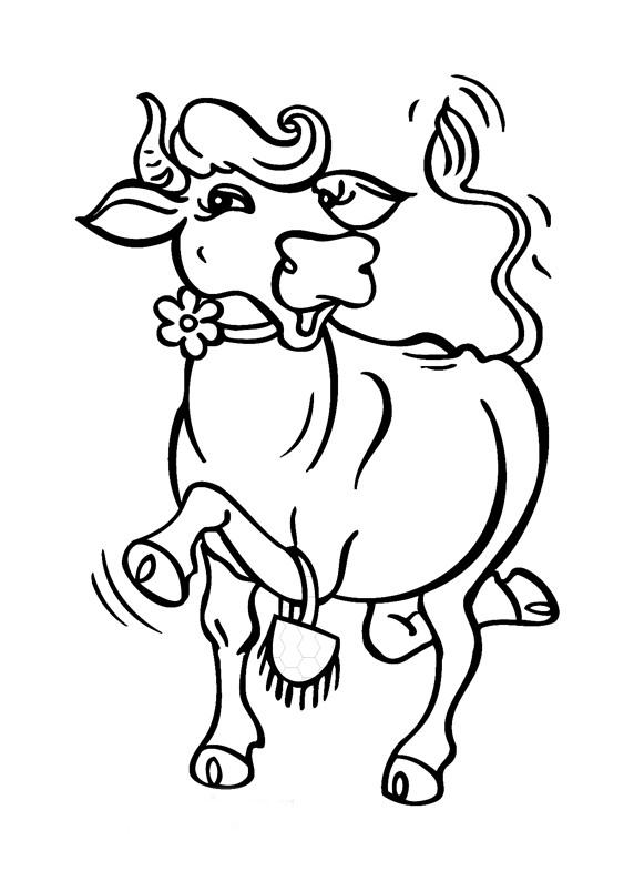 Раскраска бодрая корова