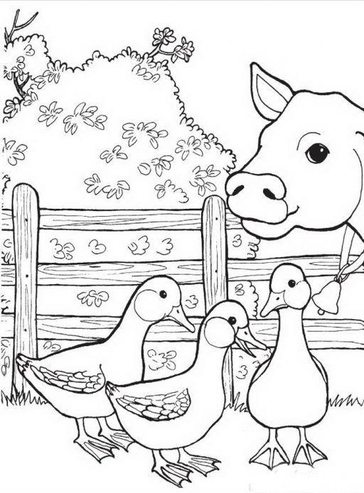 Раскраска корова на ферме