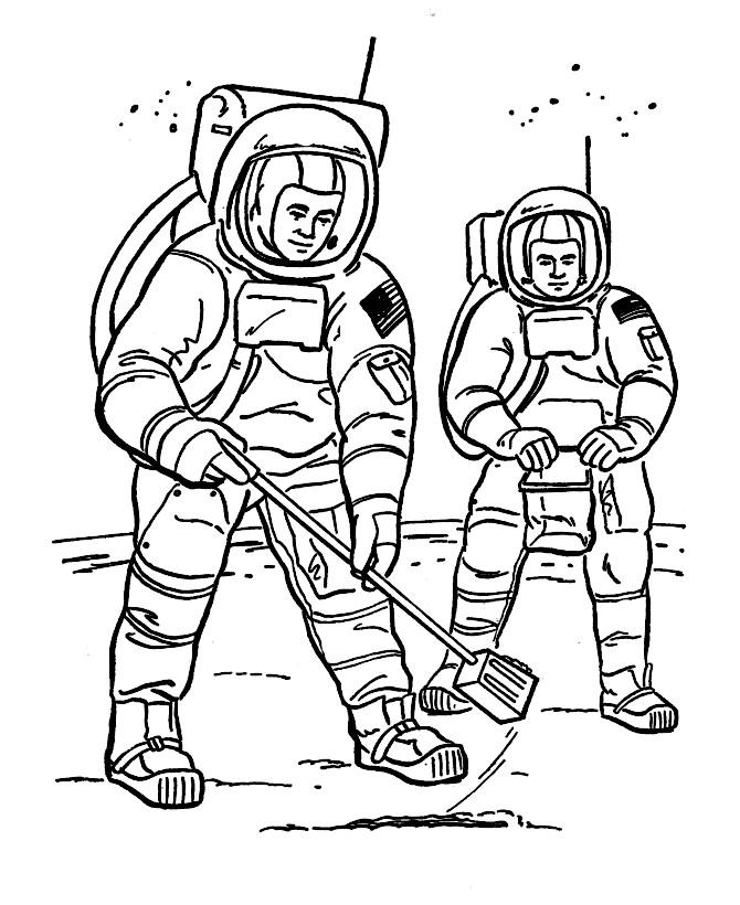 Раскраска космонавты на Луне