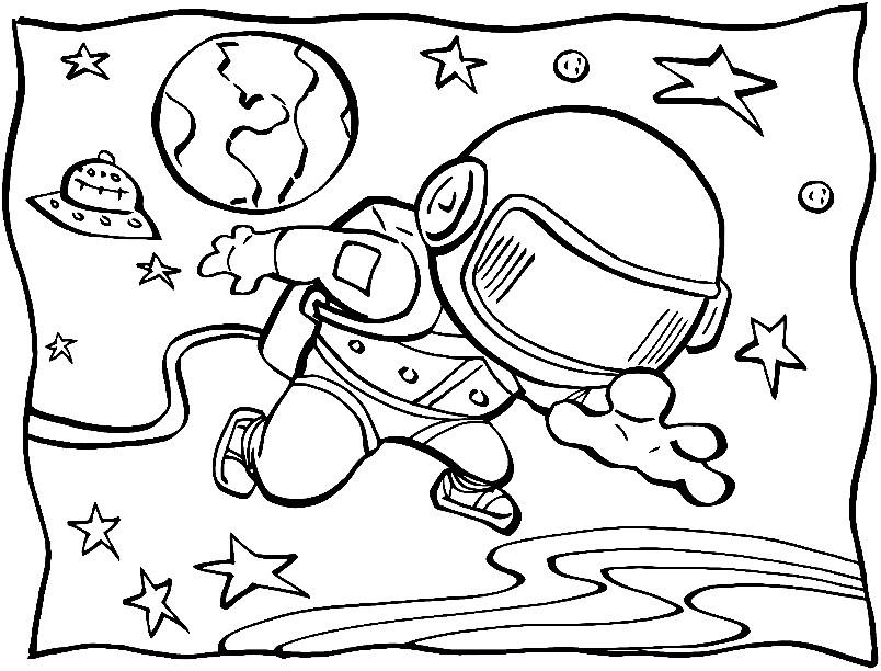 Раскраска выход в открытый космос