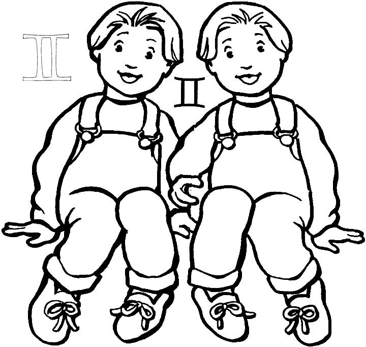 Раскраска близнецы