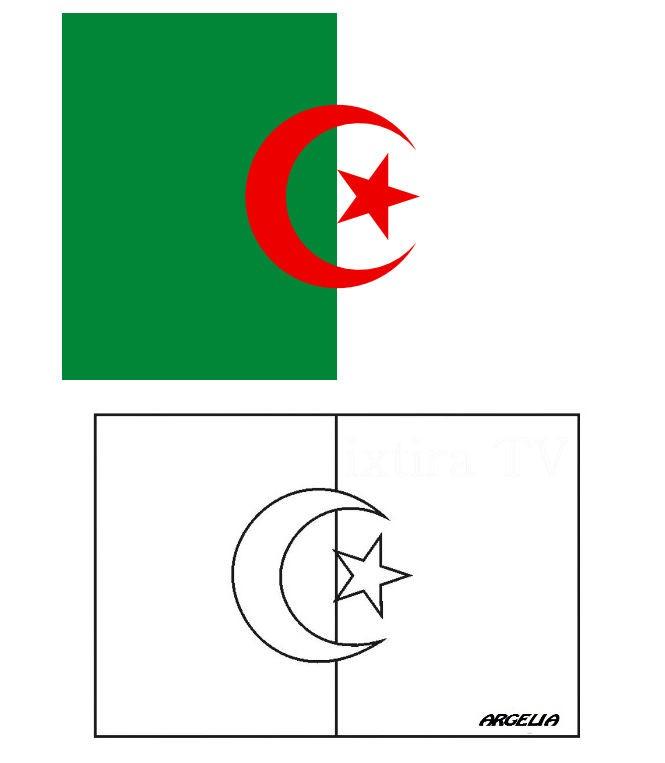 Раскраска флаг Алжира