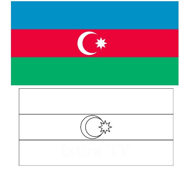 Раскраска флаг Азербайджанской Республики