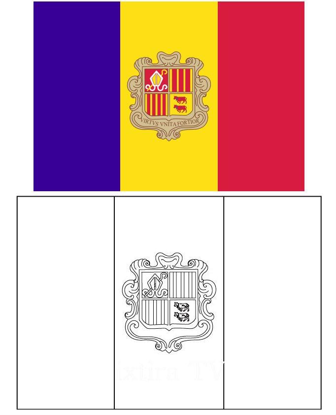 Раскраска флаг Андорры