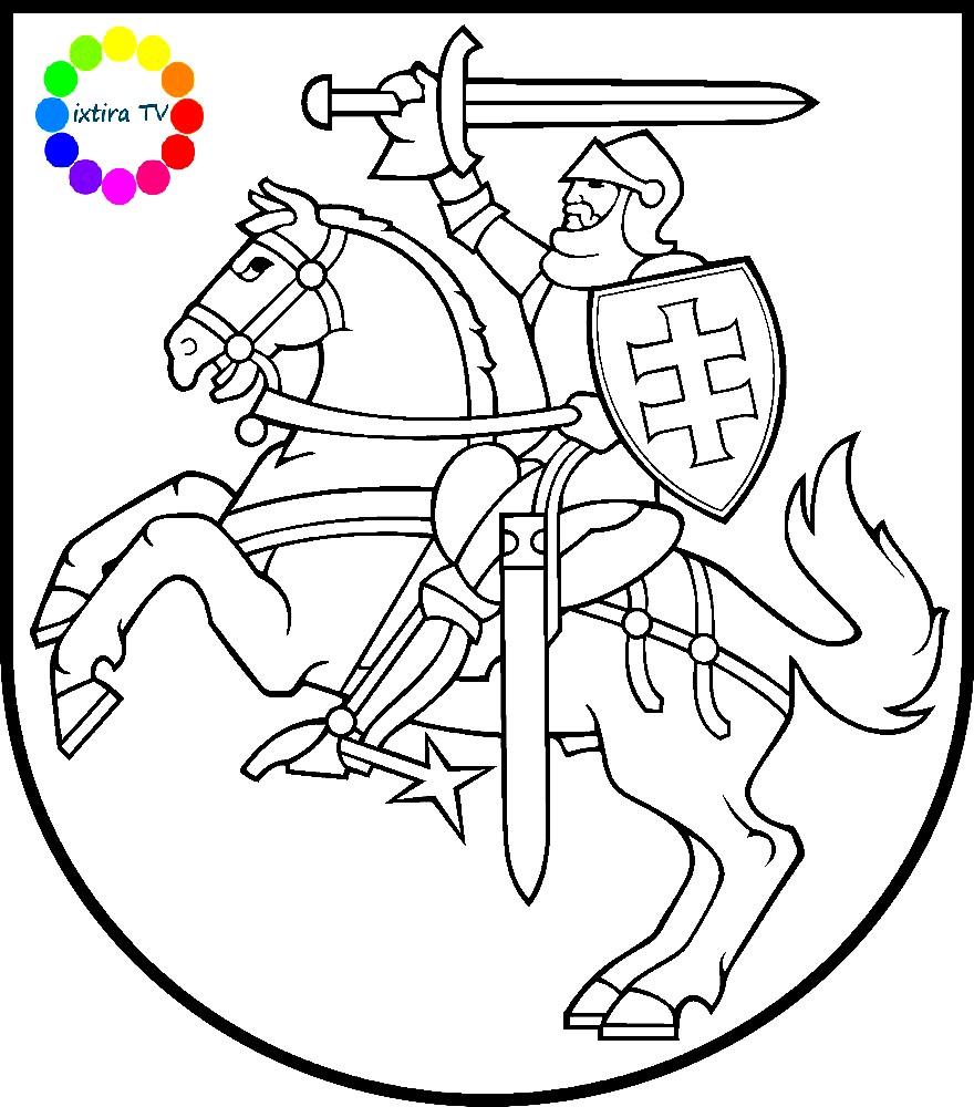 Раскраска эмблема Литвы