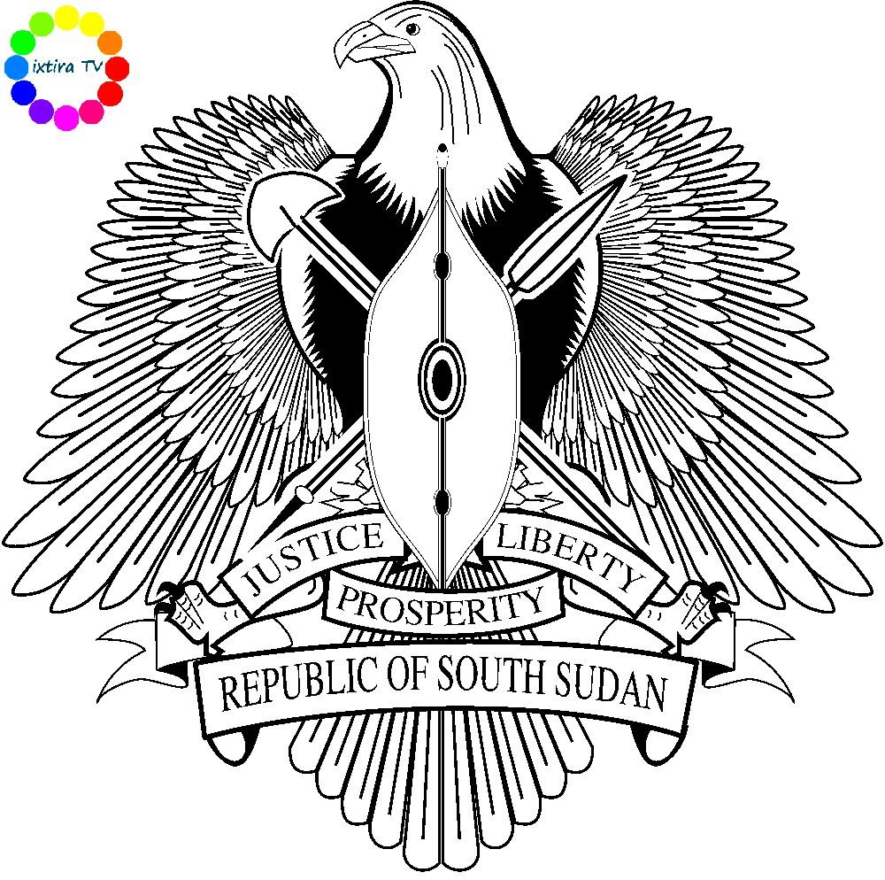 Раскраска эмблема Южного Судана