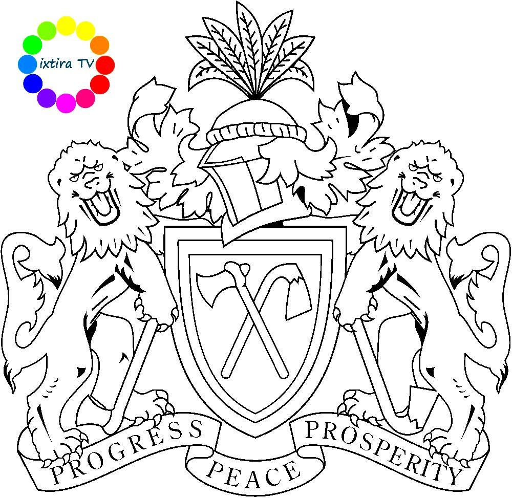 Раскраска эмблема Гамбии