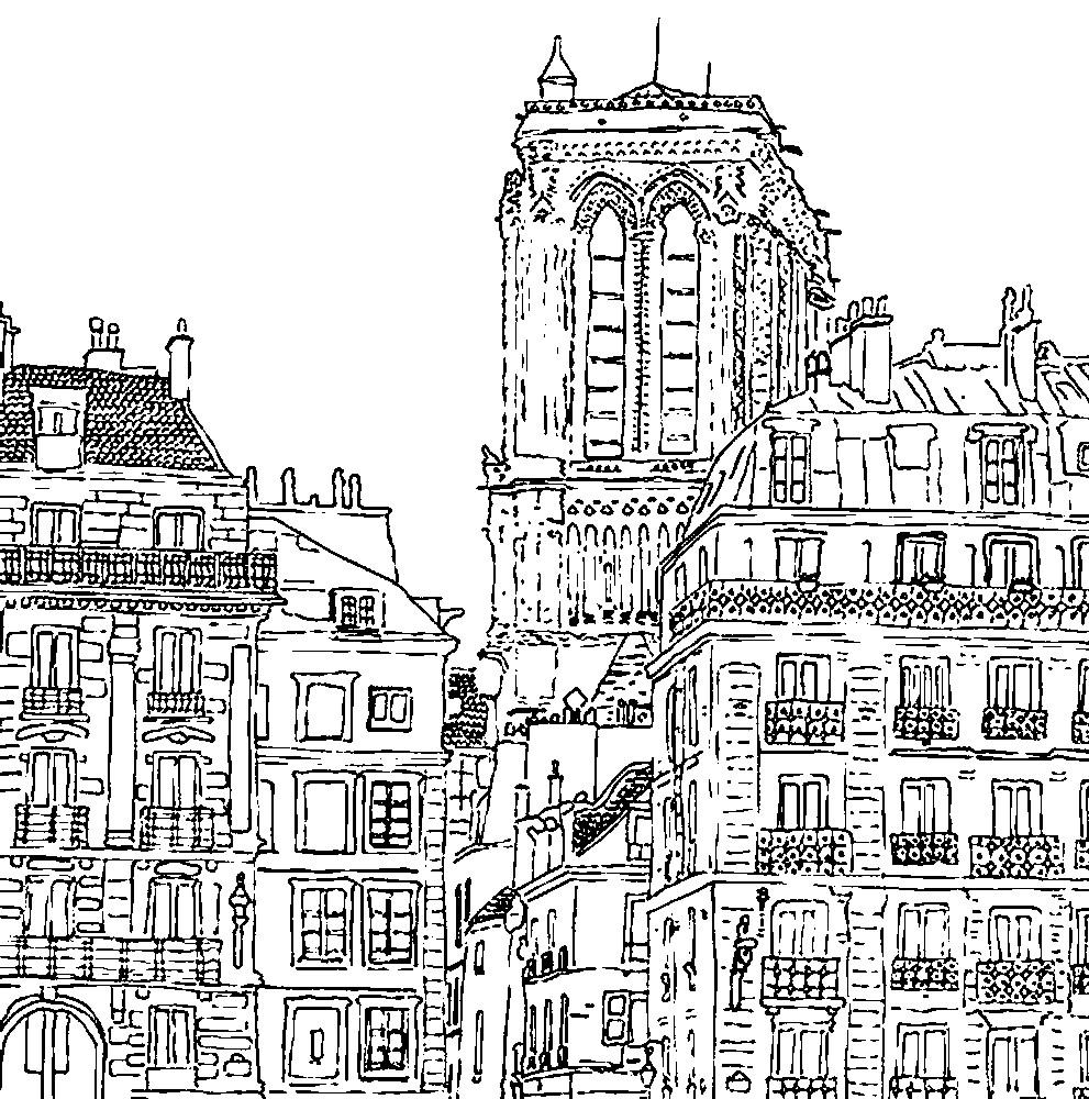 Раскраска Парижские улицы