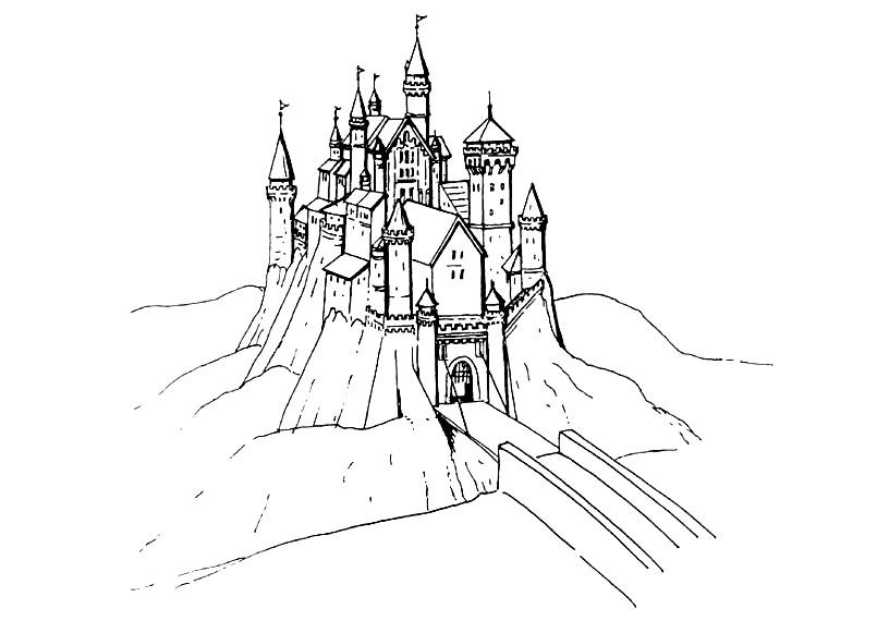 Раскраска замок на горе