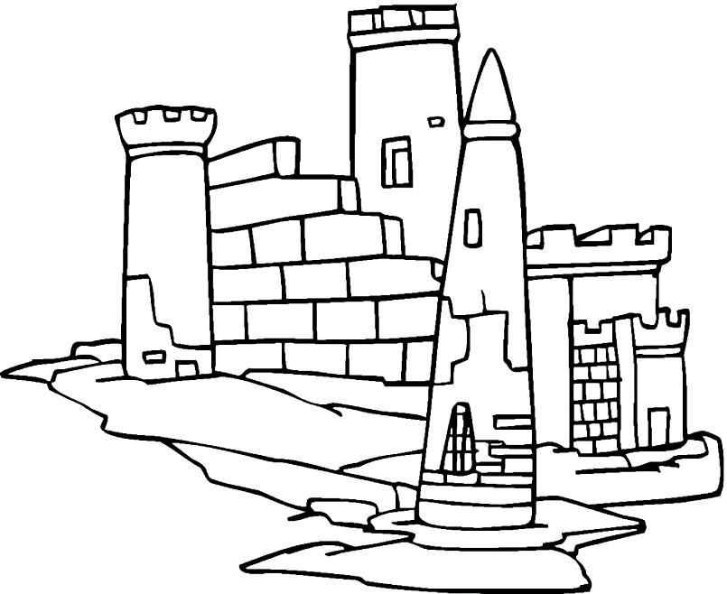 Раскраска разрушенная крепость