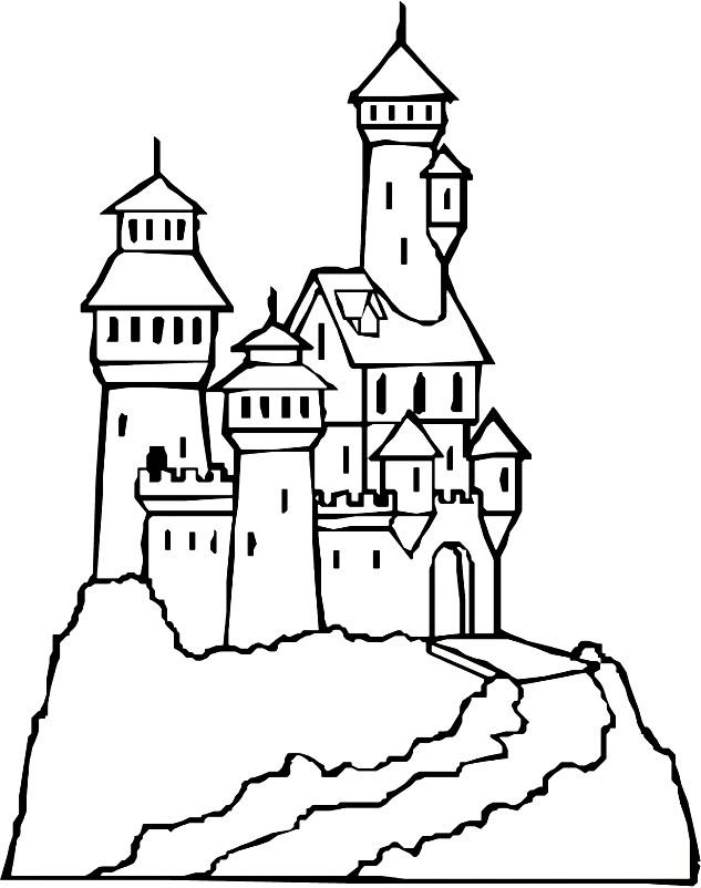Раскраска замок на острове
