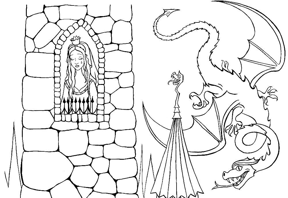 Раскраска принцесса в башне