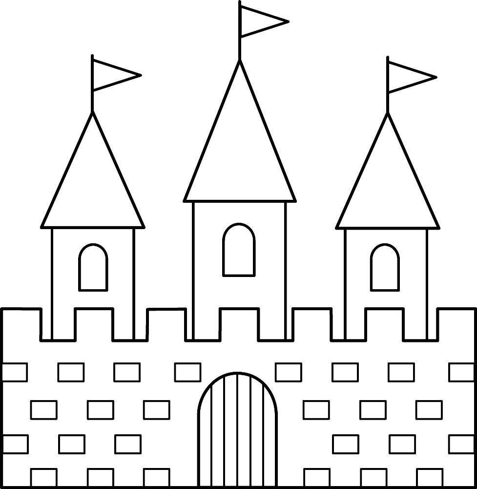Раскраска замок с тремя башнями