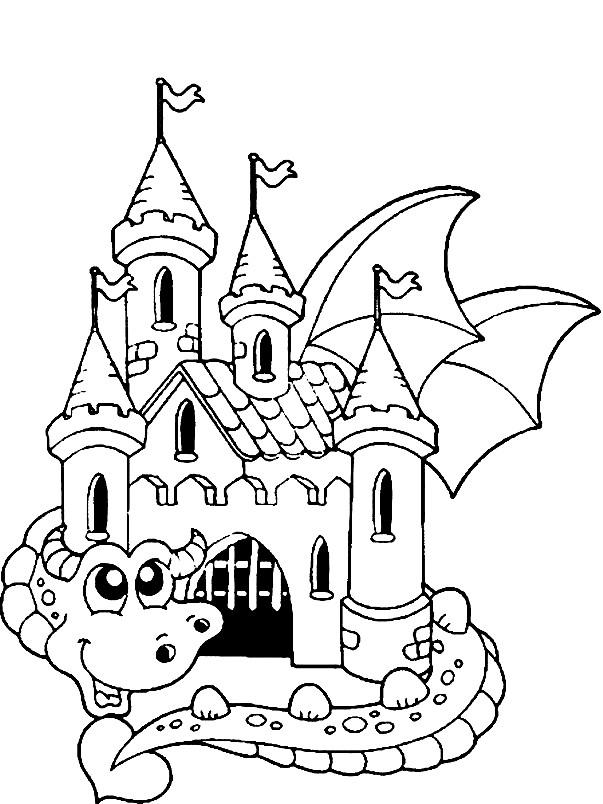 Раскраска замок с драконом