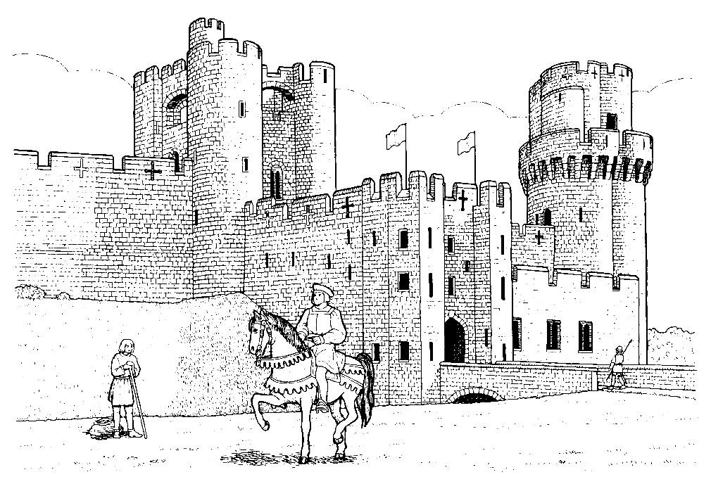 рыцарские замки рисунки картинки