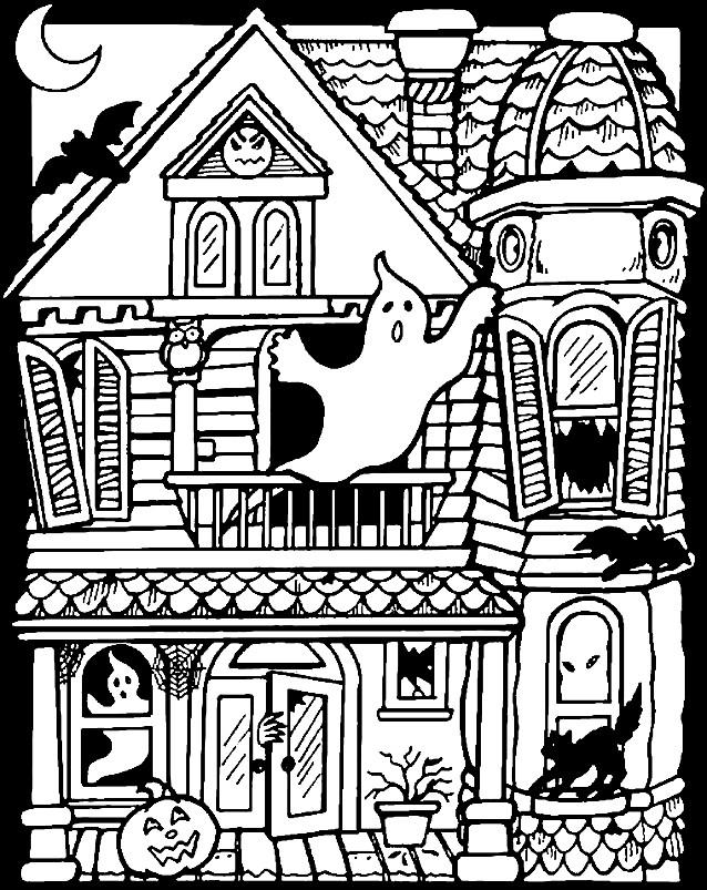 Раскраска замок с привидениями