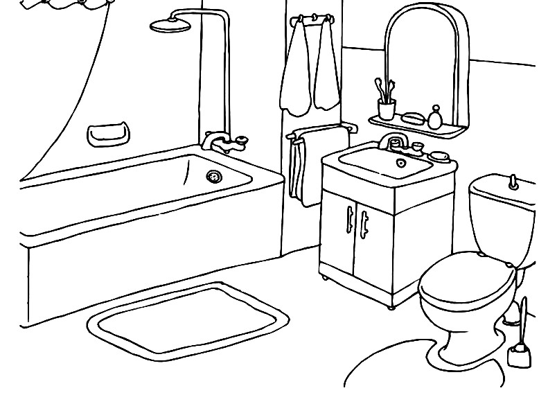 Раскраска ванная комната | Раскраски для детей распечатать ...