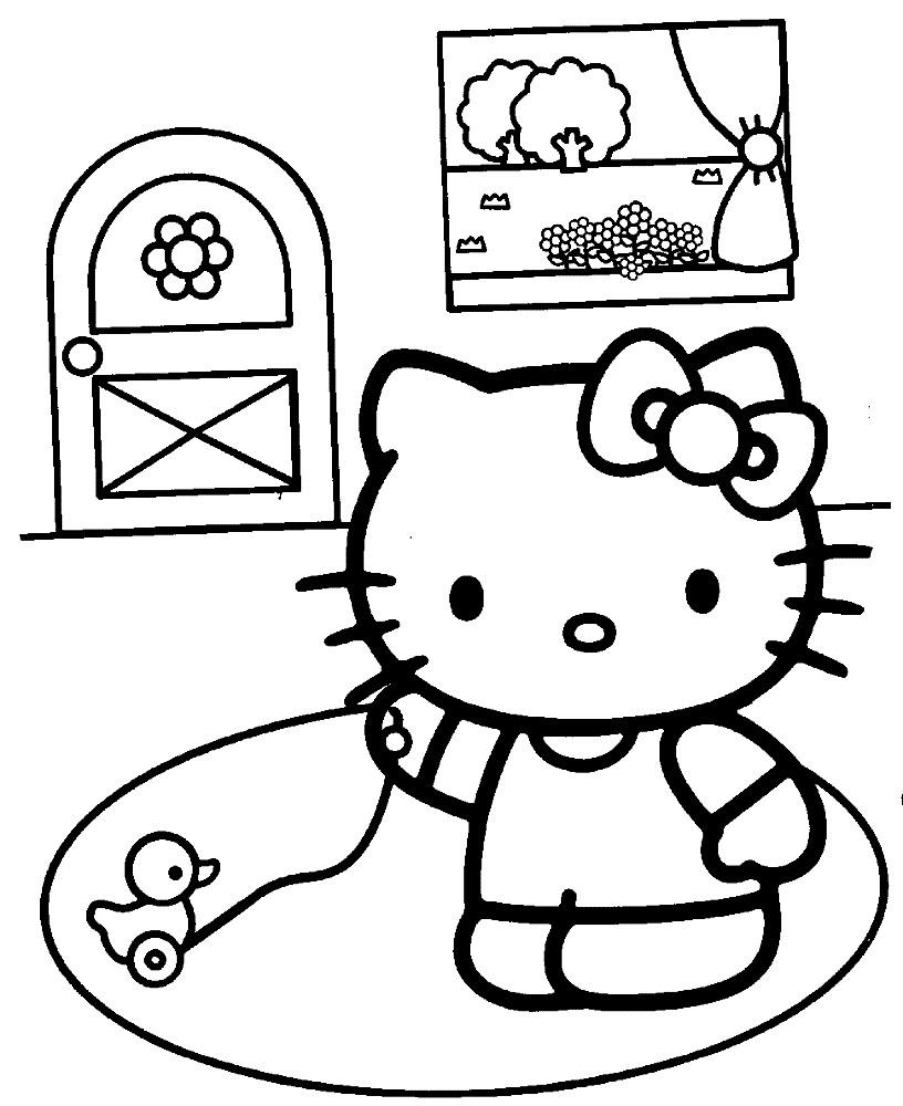 Раскраска Китти в комнате
