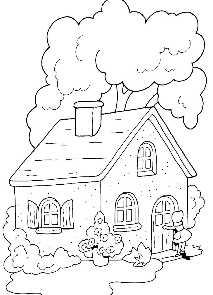 Раскраска дом с деревом