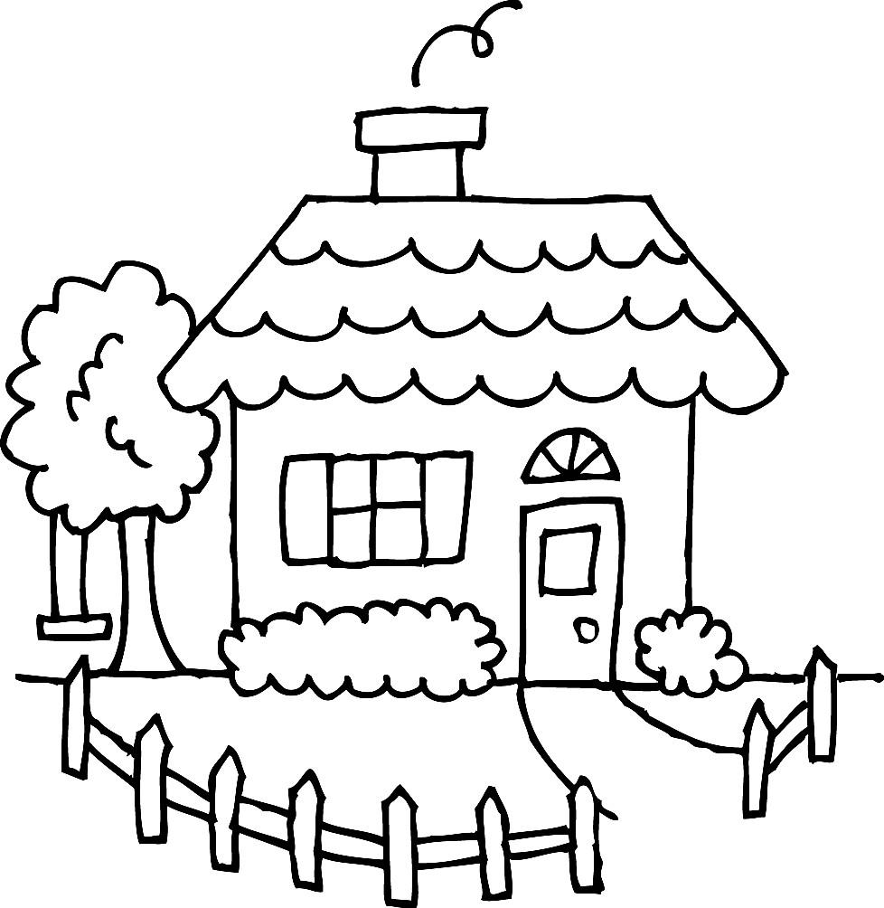 Раскраска дом с забором