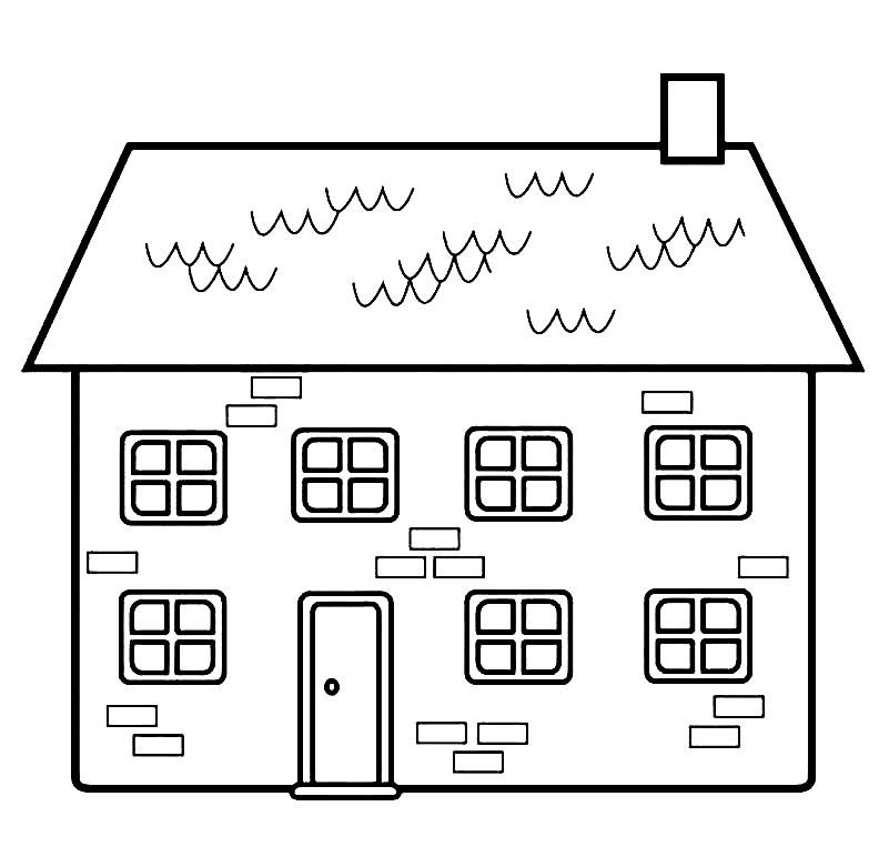 Раскраска домик с окошками