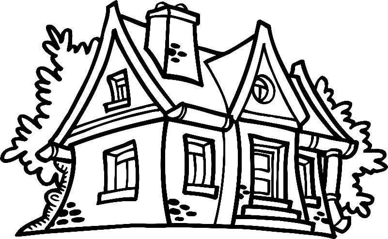 Раскраска домик с трубой