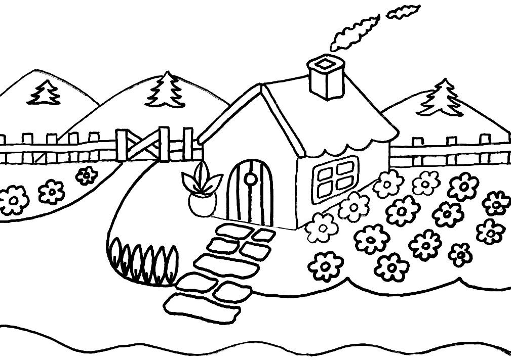 Раскраска домик в деревне