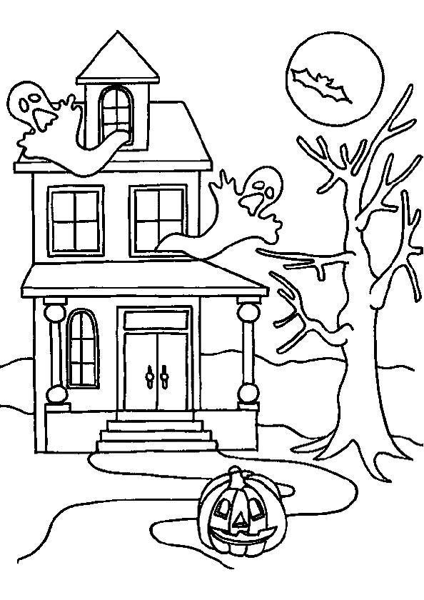 Раскраска дом с привидениями