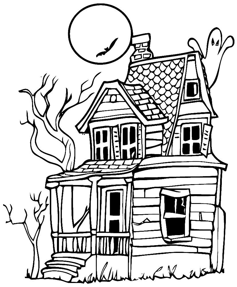 Раскраска заброшенный дом