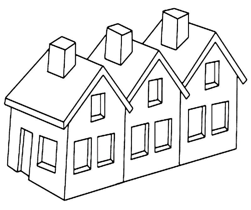 Раскраска домики для детей
