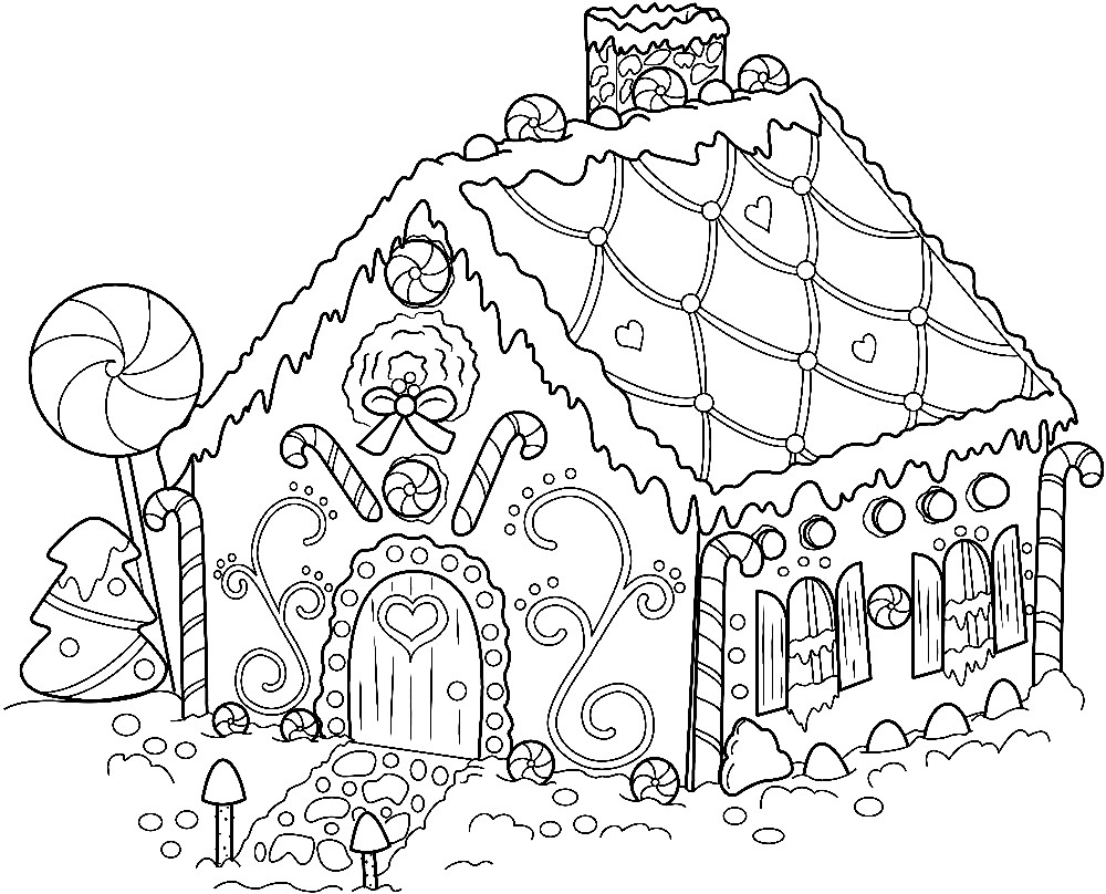 Раскраска сладкий домик