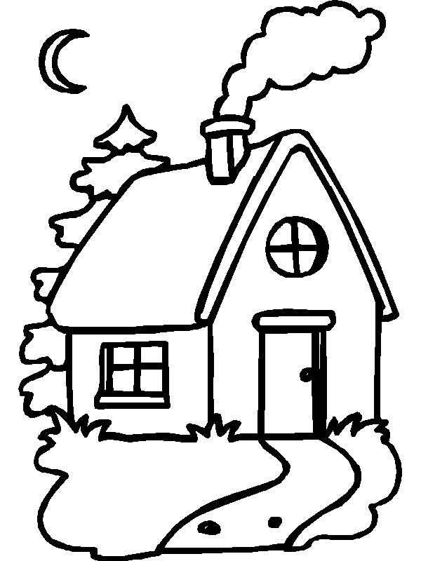 Раскраска домик в лесу
