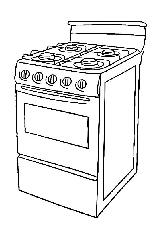 Раскраска газовая плита