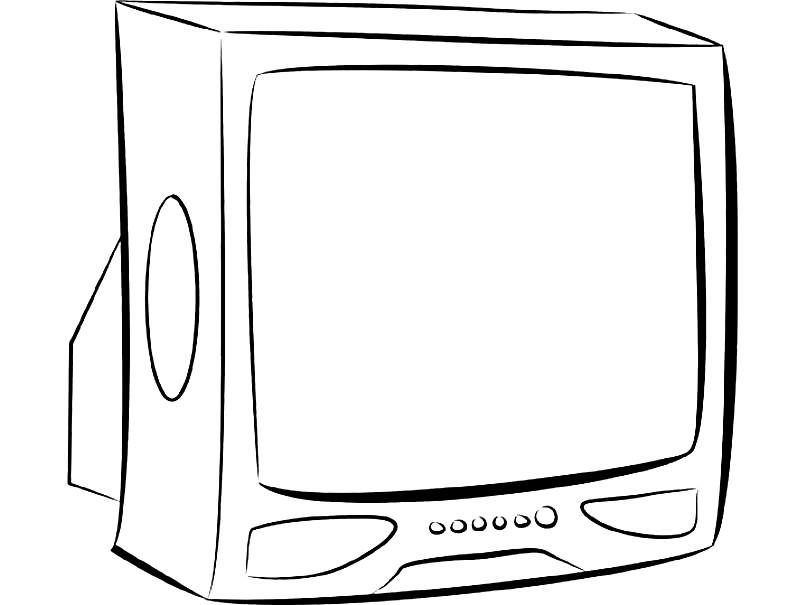 Раскраска старинный телевизор