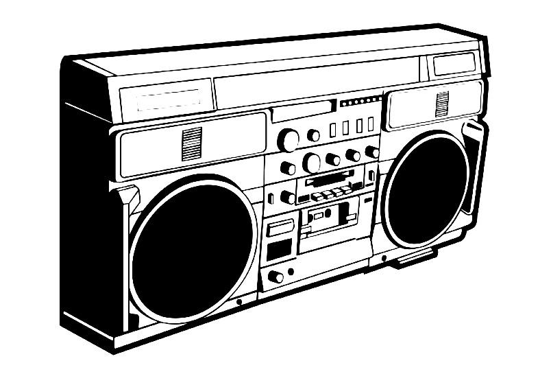Раскраска кассетный магнитофон