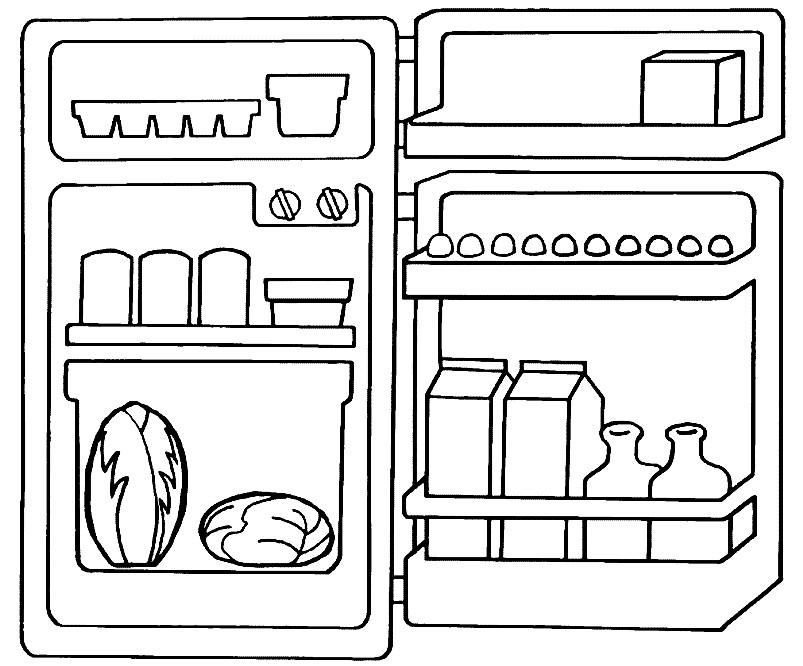 Картинки раскраски холодильник