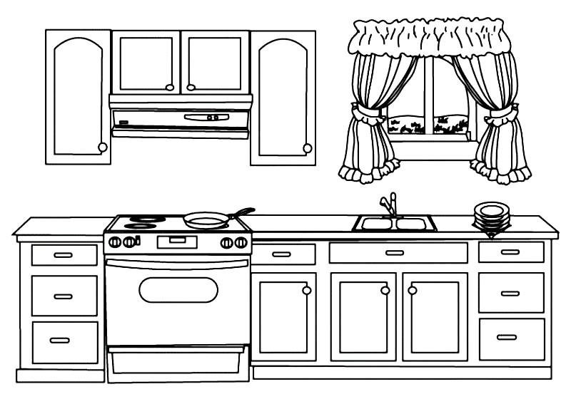 Раскраска кухонная мебель