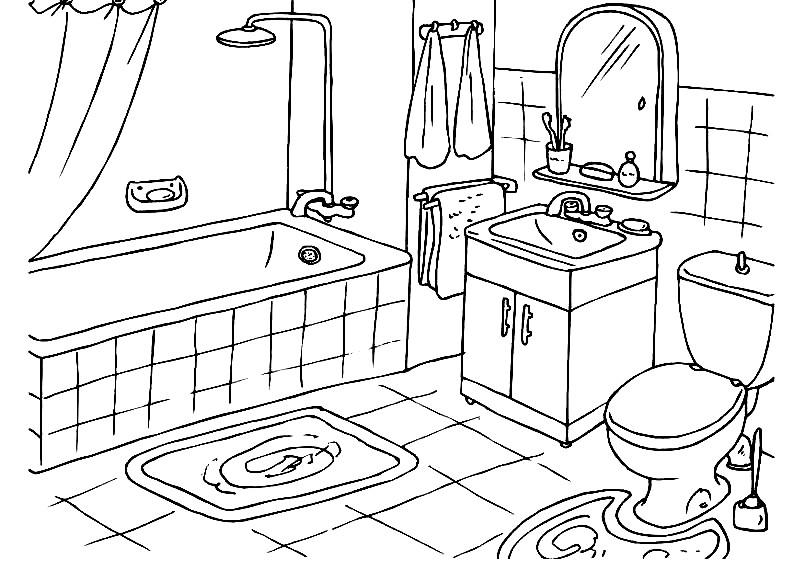 Раскраска ванная комната