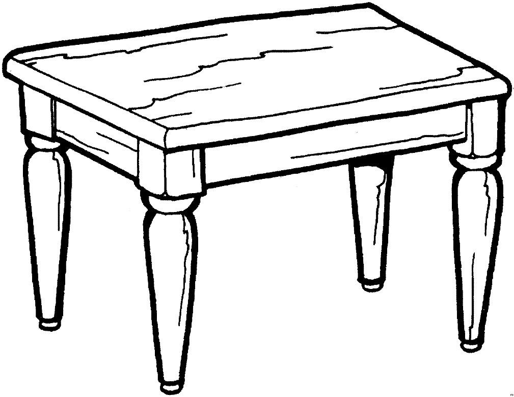Раскраска стол из дерева