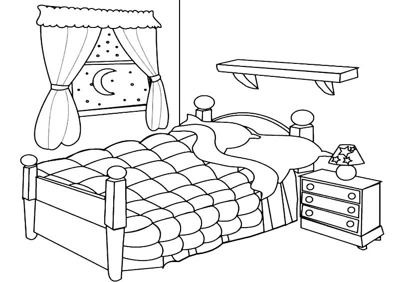 Раскраска спальня