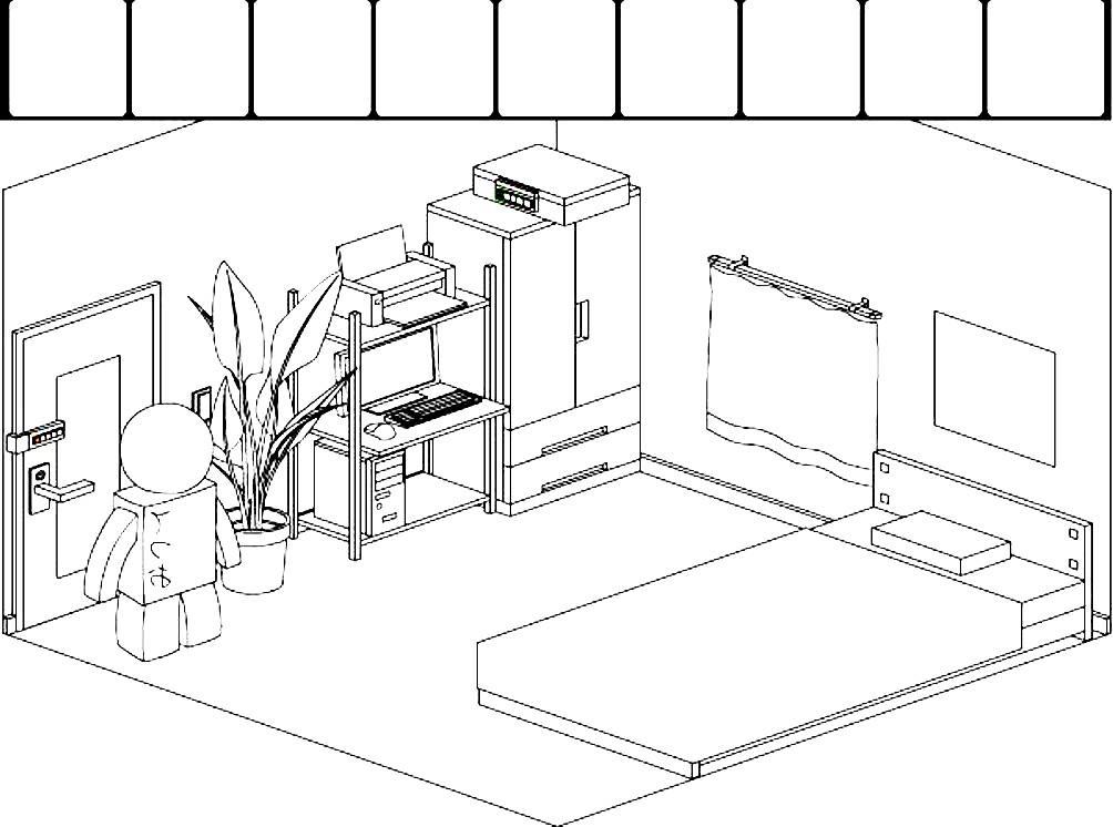Раскраска план комнаты с мебелью