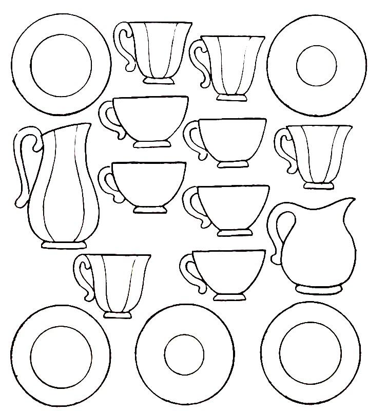 Раскраска чайный и кофейный сервиз